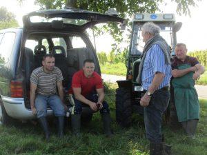 Weinlese 2014 Janusz, Lukas, Onkelchen und Vater Hans